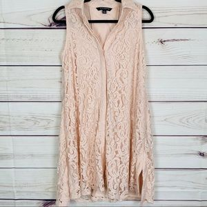 Sharagano pink lace button up dress size 4 nwot